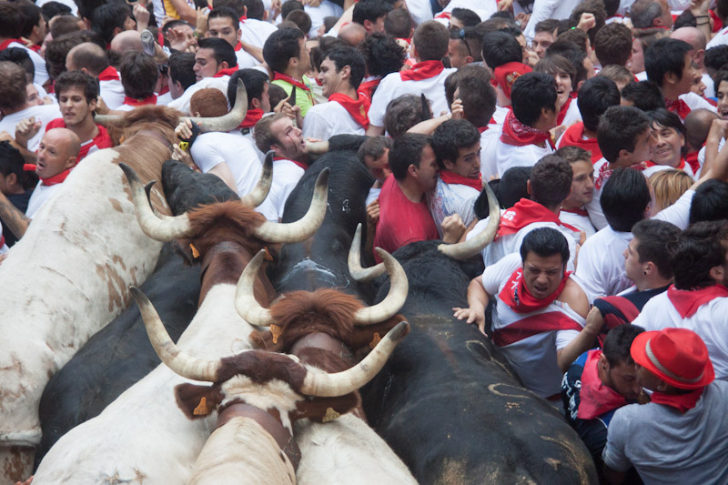 El montón de 2013 mezcló toros y corredores en la entrada a la plaza.
