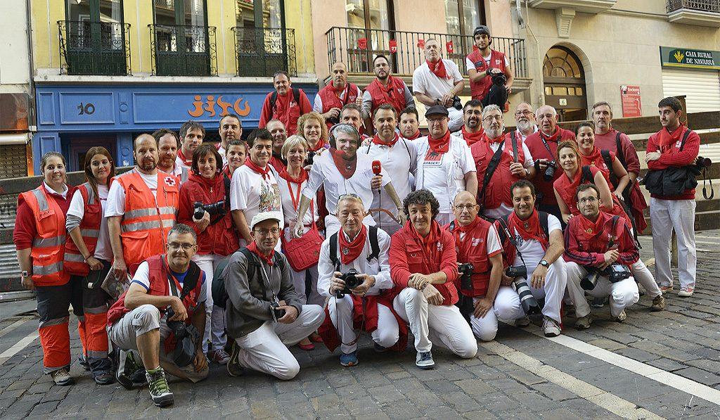 Los fotógrafos del encierro de Sanfermines.
