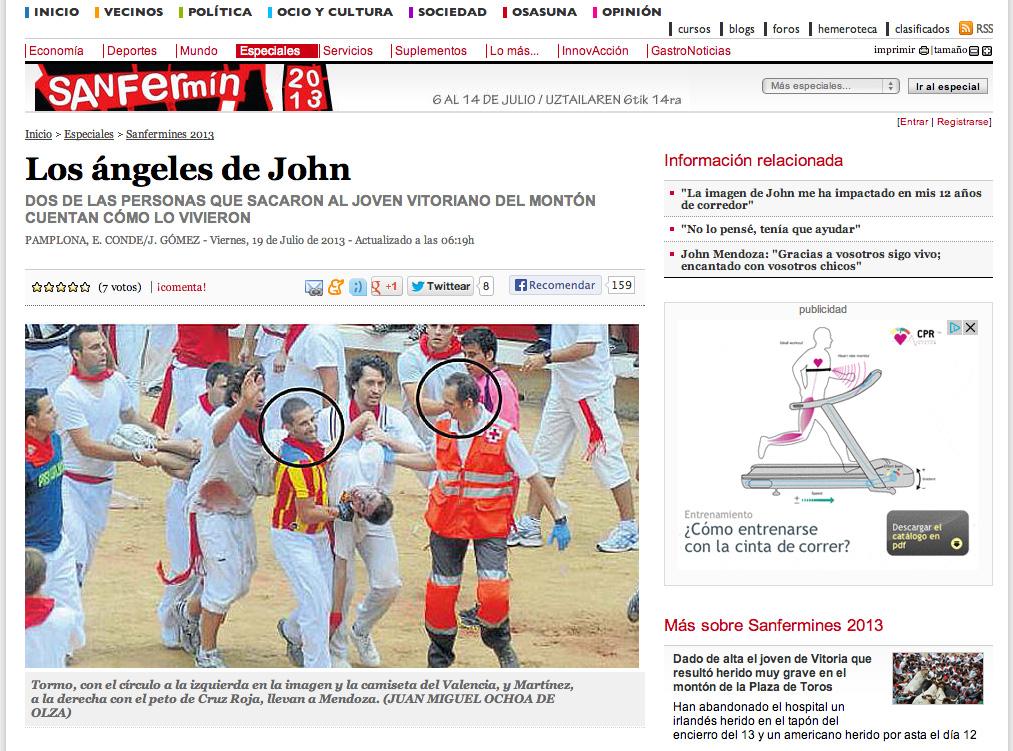 Noticia sobre las personas que ayudaron a evacuar a John mendoza tras el montón del encierro de Sanfermin 2013 de 13 de julio