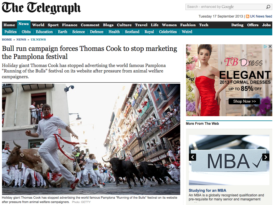 The Telegraph. Thomas Cook. Sanfermin.com