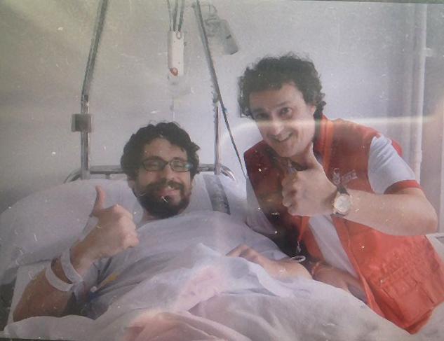 Mikel Ciaurriz y Bill Hillman en el Hospital de Navarra