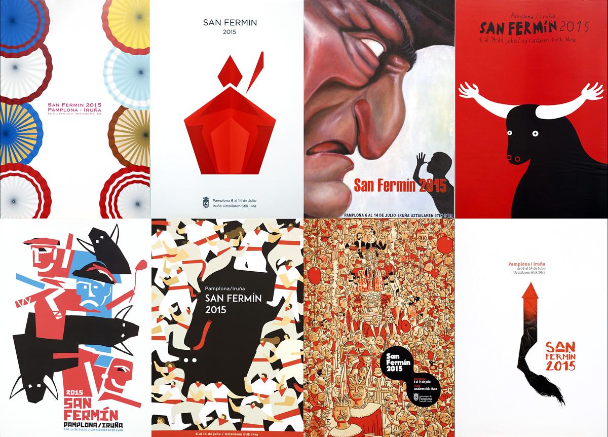 Los 8 carteles finalistas de Sanfermin para 2015 en dos filas de cuatro. Entrar en los carteles uno a uno para leer la descripción. Hay un video con testimonios del jurado