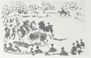 Pablo Picasso. El Picador Obligando al Toro con su Pica. Serie La Tauromaquia.