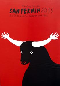 El cartel número cuatro lo forma una ilustración de un toro negro que en lugar de cuernos tiene dos brazos blancos abiertos simulando un abrazo.