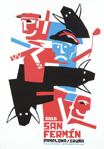 El cartel número cinco está compuesto por varias figuras sanfermineras dispuestas en un estilo abstracto y realizado en tres colores: azul, rojo y negro. Podemos reconocer a un dantzari, a tres toros y también vemos otras siluetas que pueden ser corredores. Los toros están dibujados como vistos desde arriba y no están distribuidos en manada, sino que apuntan en varias direcciones.