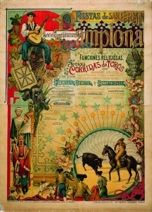 Cartel de San Fermín de 1903. Un mozo con una guitarra en primer plano con abundante texto informativo. Abajo un picado r ejecuta la suerte de varas junto a la información de los espectáculos taurinos.