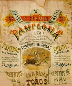 Cartel de San Fermín de 1892.  Información con texto sobre las fiestas y ferias de San Fermín con un dibujo de un picador en la suerte de varas ayudado por un subalterno con capote para retirar al toro