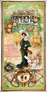 Cartel de Sanfermin de 1906. Estilo modernista con una dama con un violín en la ilustración pricipal. Debajo imágenes de un picador ejecutando la suerte de varas