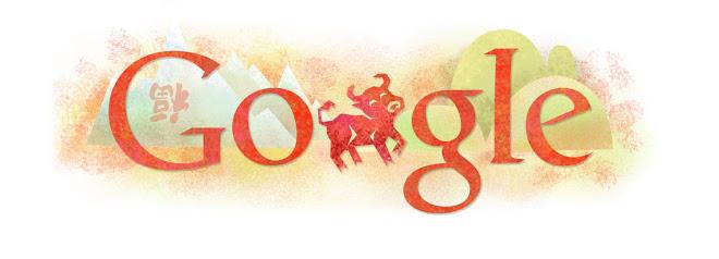 Vemos la palabra Google dibujada en trazos rojos difuminados y la segunda letra O, es un toro rojo rampante del mismo tono que el texto.