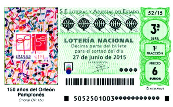 Orfeón Pamplonés décimo de lotería 2015