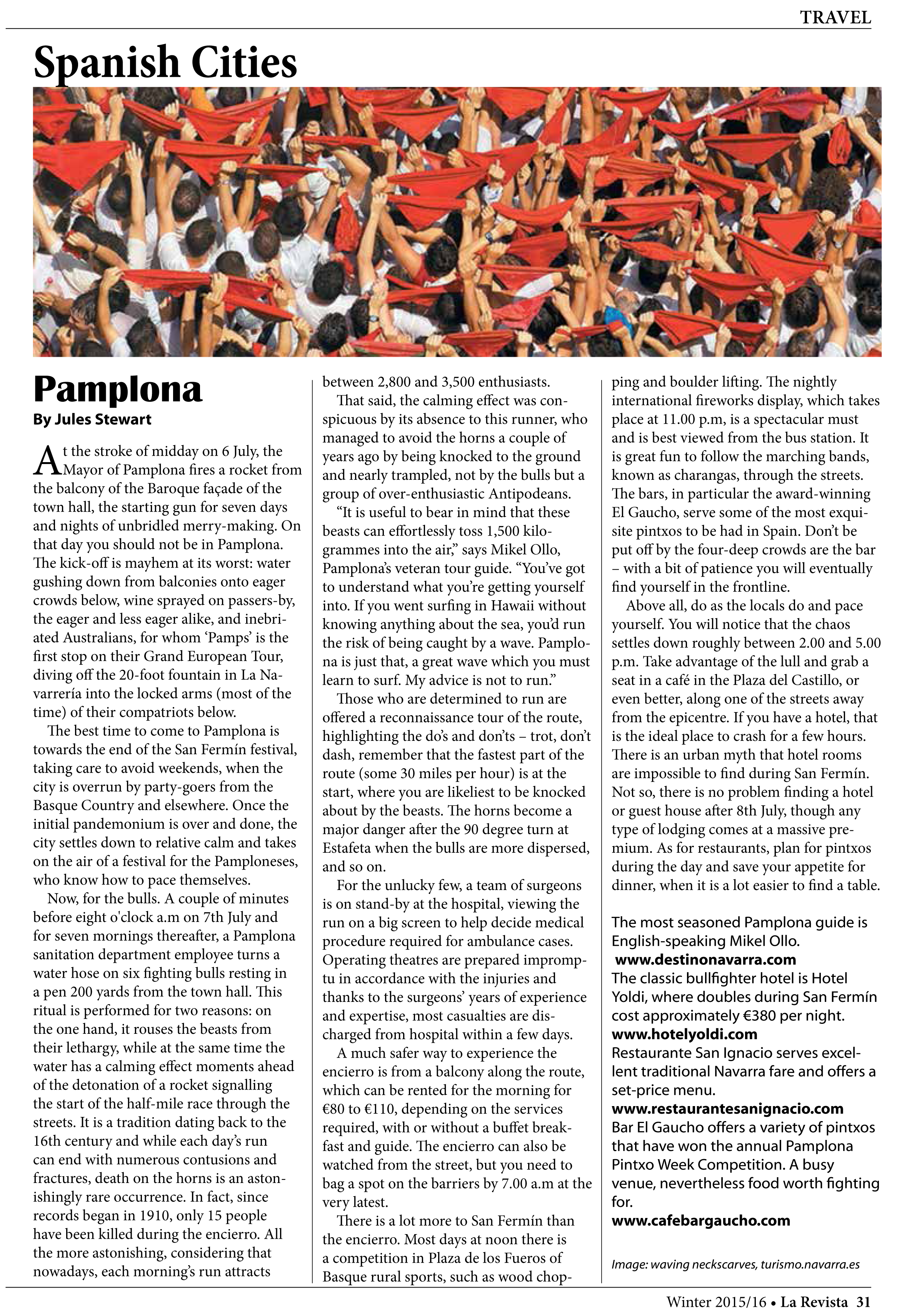 Pamplona, Jules Stewart. La Revista.. Bristish Spanish Society