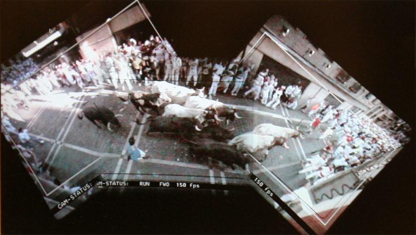 Tres imágenes compuestas conforman el plano continuo del encierro jamás rodado. Bigas Luna, sanfermin 2009