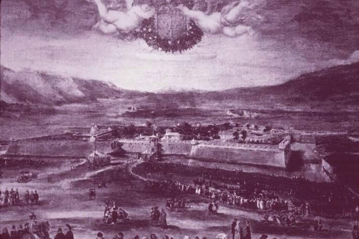 Pamplona in the 16th Century. I especially like the two fat babies flying over the town, with what is no doubt a barrel of patxaran.