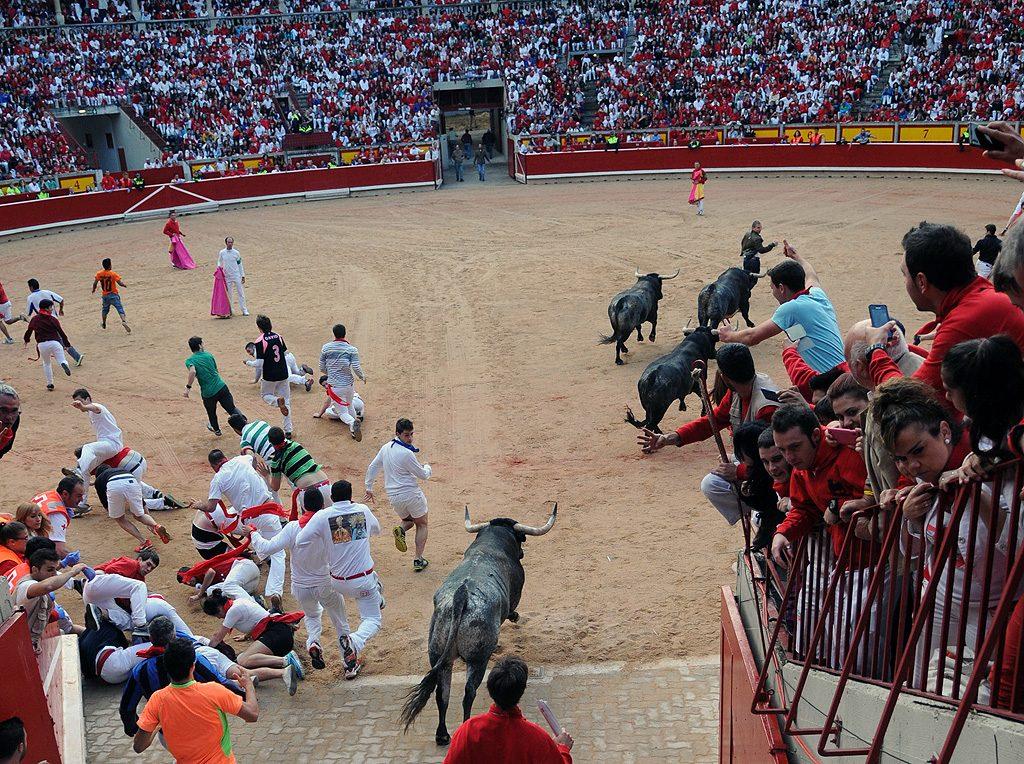El encierro desde la plaza toros.
