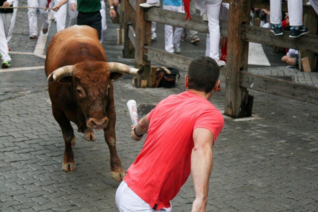 Algunos corredores utilizan el periódico para llevar a los toros del encierro.