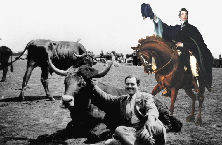 Hemingway and Duke of Wellington in 1924 at Sanfermin´s Livestock Fair