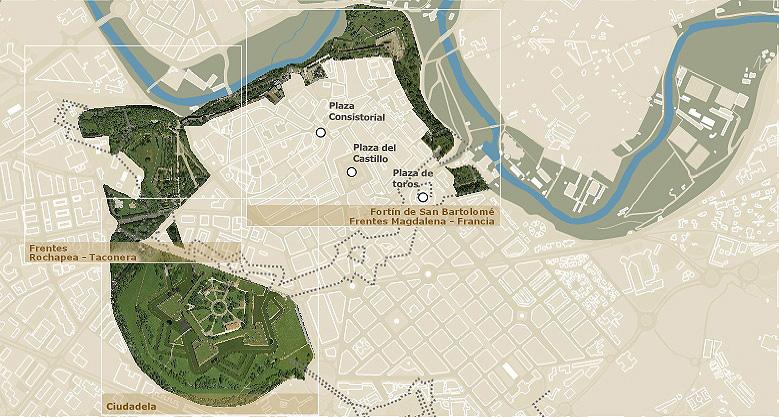 Plano General de las murallas de Pamplona. murallasdepamplona.com