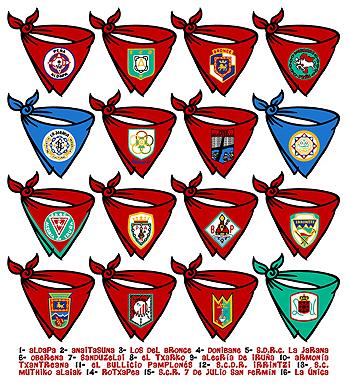 Of the 16 peñas of Pamplona , Turrillas wrote the club hymn for 9 of them. Aldapa, Armonia Txantreana, Anaitasuna, Bullicio Pamplones, Irrintzi, La Jarana, Muthiko Alaiak, Oberana and La Unica.