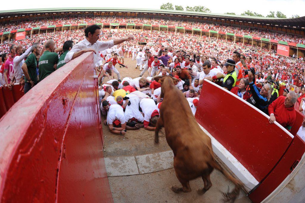 Las vaquillas se celebran en la plaza de toros después del encierro.