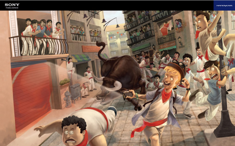 An illustration of the Running of the Bulls to publicize a Sony camera in Indonesia