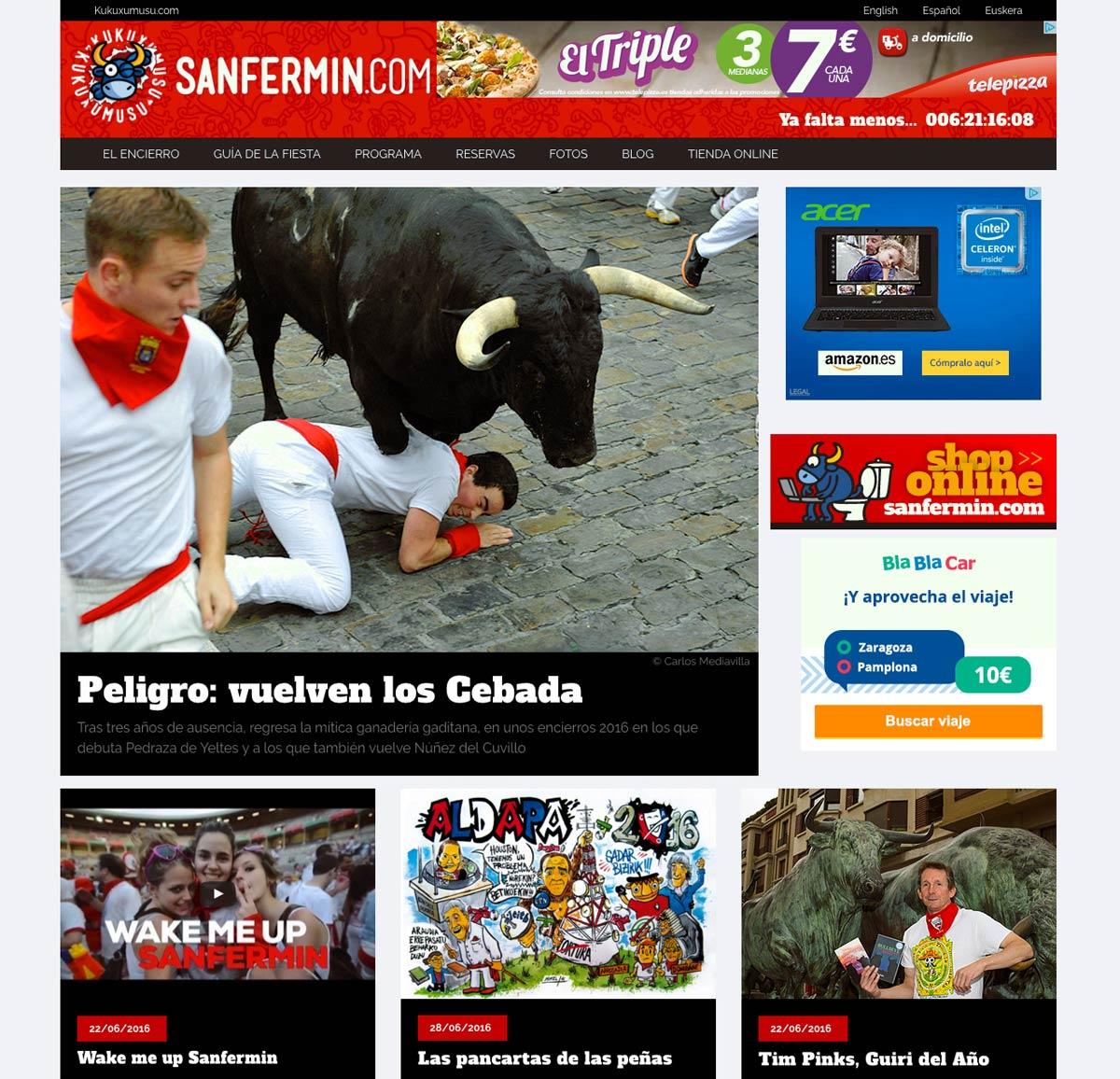 Portada de la nueva página Sanfermin.com