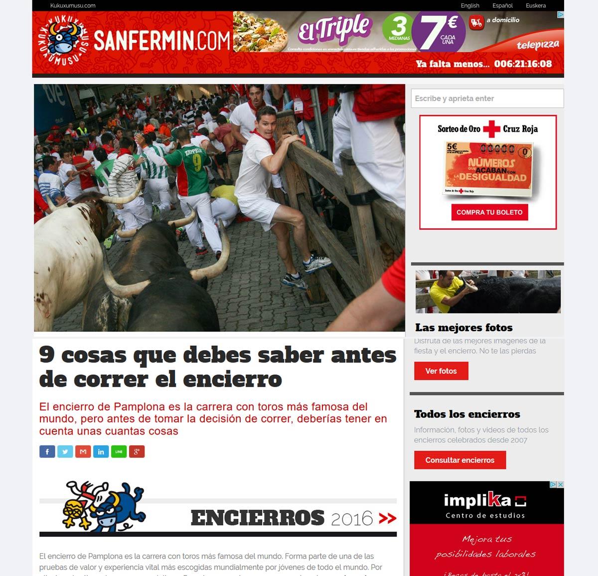 Página sobre el encierro en Sanfermin.com