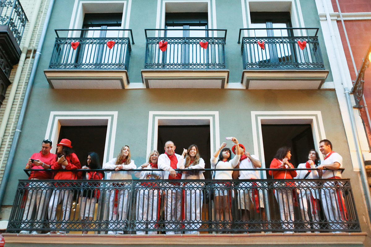 Running of the Bulls Balconies. Sanfermin, Pamplona 2017