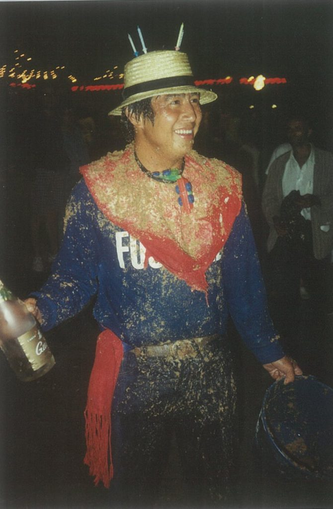 Ike celebrating his birthday in Pamplona in '89. We'd get some buckets, fill them up with any old street sludge we could find…and tip the lot over him. It's 'cos we loved him, see…?! (By the way, he's in the Guiri of the Year photo, too.)