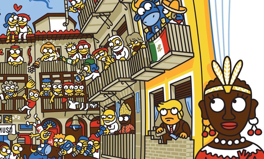 Donald Trump y sus muros en la camiseta del año de Kukuxumusu.