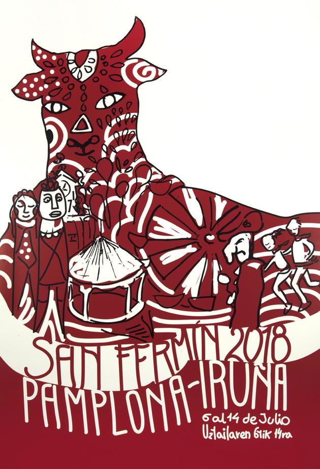 Número 1. Fiesta Toro Mandala. Una figura de un toro sentado en el suelo que lleva tatuado en blanco sobre fondo rojo elementos reconocibles de la fiesta como la noria, el quiosco de la plaza del castillo, etc.