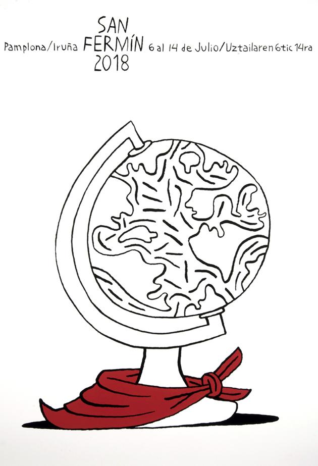 Una bola del mundo en blanco y negro sostenida en su base de la que cuelga un pañuelo rojo vivo que destaca sobre la insaturada superficie en la reina solamente el trazo de una ilustración.