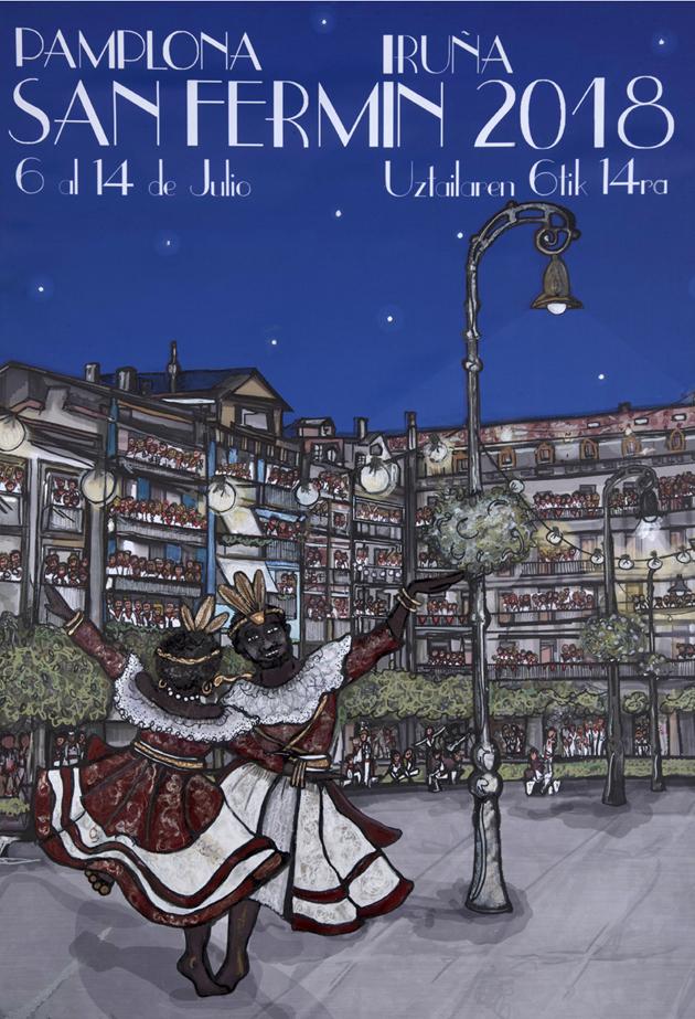 El cartel número 5 está inspirado en La La Land e incluye a dos gigantes bailando ante una plaza del castillo abarrotada