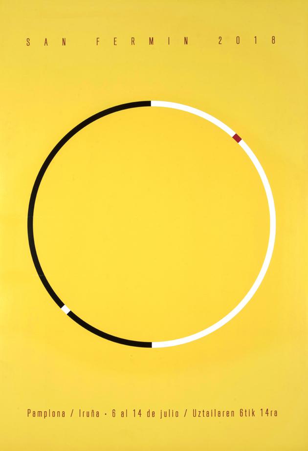 Un círculo sobre fondo amarillo nos recuerda a la plaza de toros visto desde arriba. Podemos ver el día y la noche, sol y sombra en el ciclo continuo de la fiesta