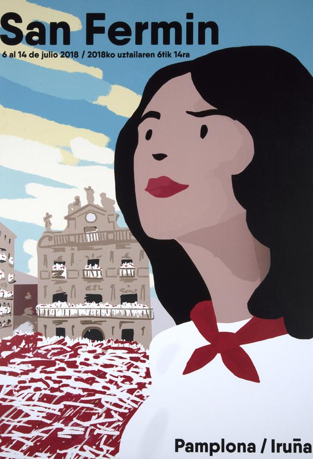 Una mujer morena vestida de sanfermin con la mirada alta ocupa dos tercios del cartel. De fondo podemos ver el Ayuntamiento de Pamplona en pleno chupinazo.