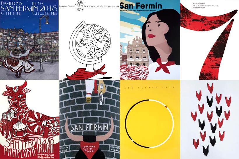 podemos ver los carteles finalistas para la fiesta de Sanfermin 2018