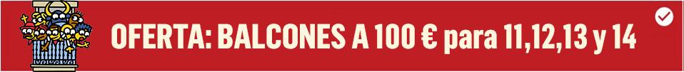 Banner que ofrece balcones para el encierro de sanfermin a 100 euros para los días 11, 12, 13 y 14 de julio