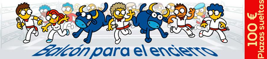 Dibujo de Kukuxumusu con corredores y toros corriendo juntos por estafeta