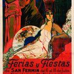 cartel de la fiesta y ferias de san fermin de º926. Art decó. Precioso, con figuras semi griegas