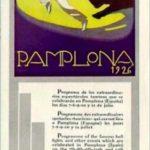 programa de mano de la feria del toro de 1926 en formato vertical y con un dibujo de un corredor del encierro y un toro en escorzo siguiéndole