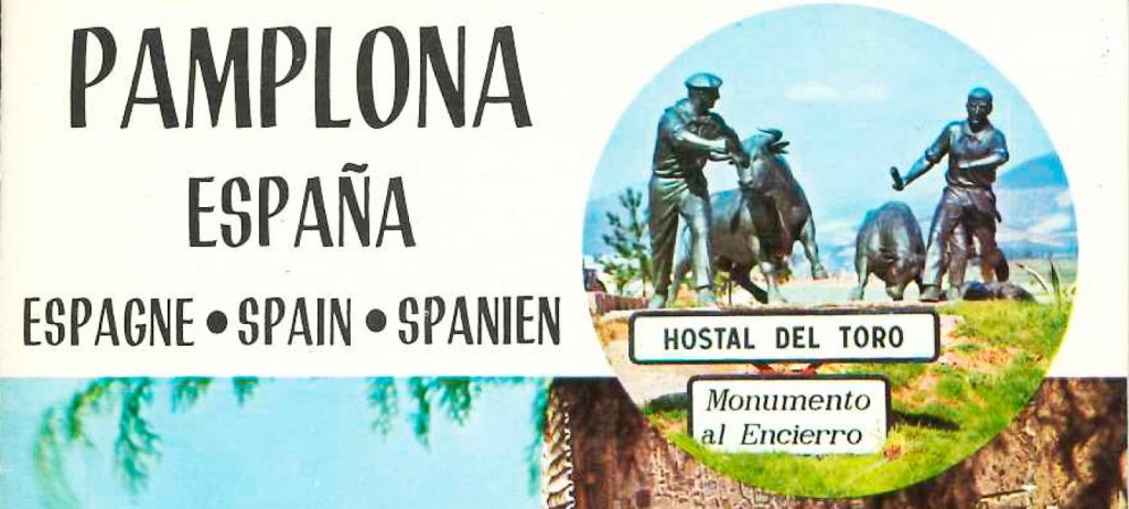 El folleto publicitario de 1969 comenzaba con una imagen del monumento al encierro y estaba traducido a cuatro idiomas.