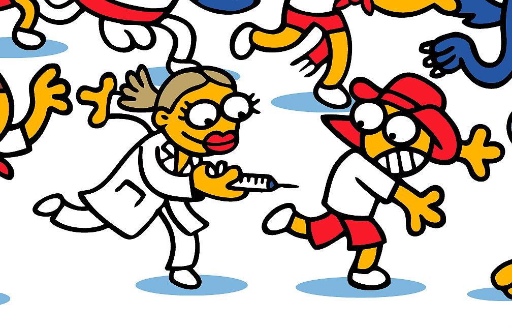 imagen de una enfermera persiguiendo a un mozo con la jeringuilla en la mano